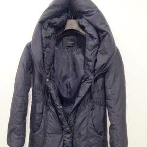 Tahari Puffer Down Coat 3/4 Length Hood Black M